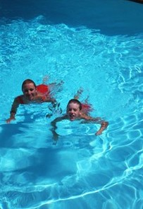 Girls Enjoying in a Swimming Pool